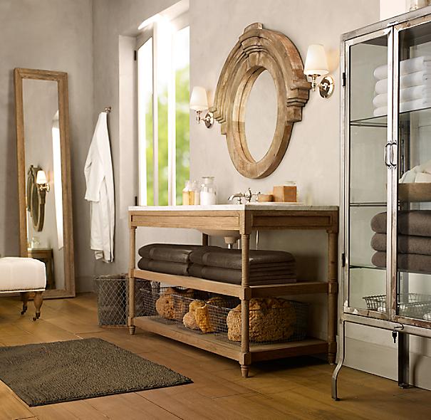 Weathered Oak Single Extra Wide Washstand Base