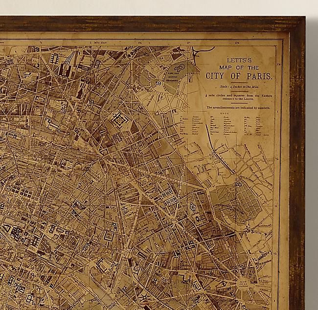 Vintage Paris Map - Restoration hardware paris map