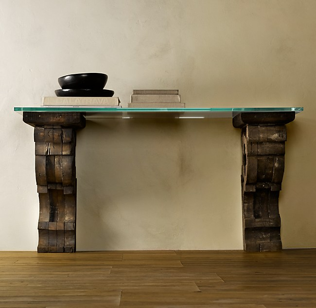 Corbel Glass Console Table