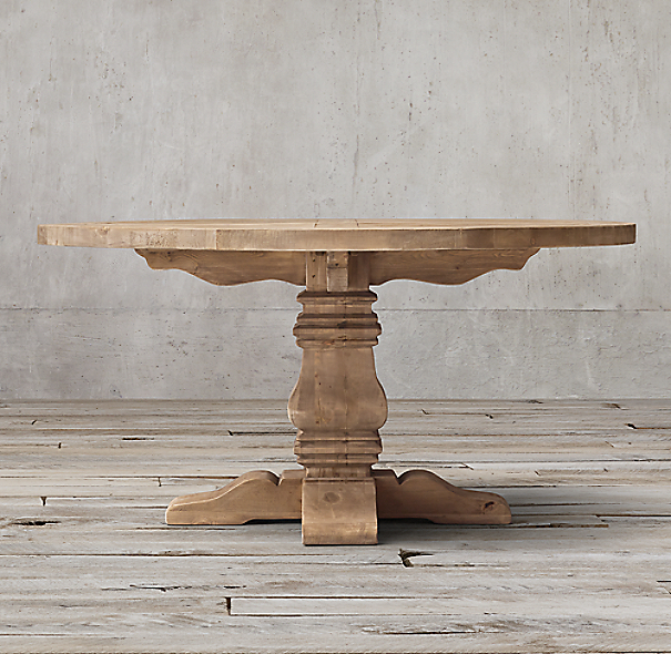 Salvaged Wood Trestle Round Dining Table