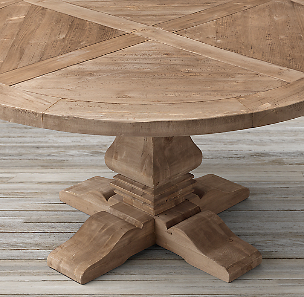 Model Of Salvaged Wood Trestle Round Dining Table COLOR PREVIEW UNAVAILABLE New Design - Simple Elegant restoration hardware salvaged wood table Modern
