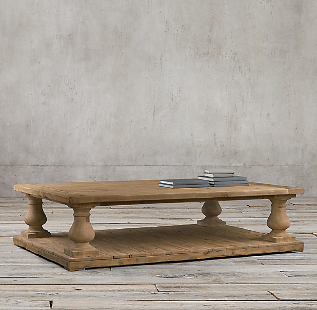 Restoration Hardware Coffee Table.Balustrade Salvaged Wood Coffee Table