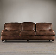 8' English Roll Arm Leather Sofa