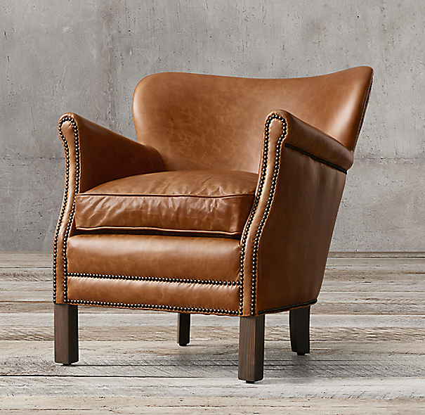 Restoration Hardware Leather Chair: Professor's Leather Chair With Nailheads
