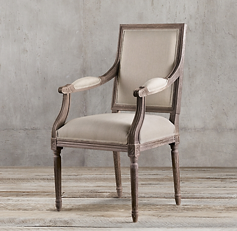 + more finishes · Vintage French Square Fabric Armchair - Vintage French Square Collection RH