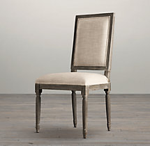 Vintage French Square Fabric Side Chair