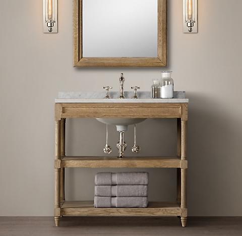 weathered oak washstand bath collection - weathered oak | rh