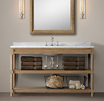 Weathered Oak Single Extra-Wide Washstand