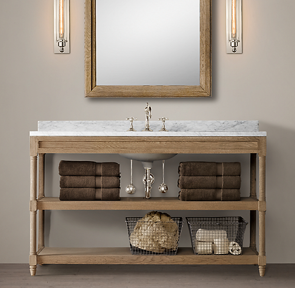 Weathered Oak Single Extra Wide Washstand