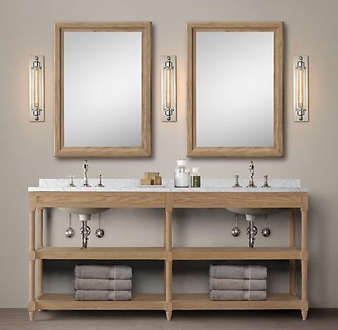 Weathered Oak Washstand Collection Rh, Weathered Oak Bathroom Vanity Mirror