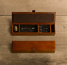 Artisan Leather Desk Box - Chestnut