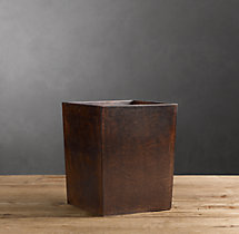 Artisan Leather Wastebasket - Chocolate