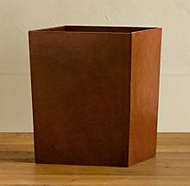 Artisan Leather Wastebasket - Chestnut