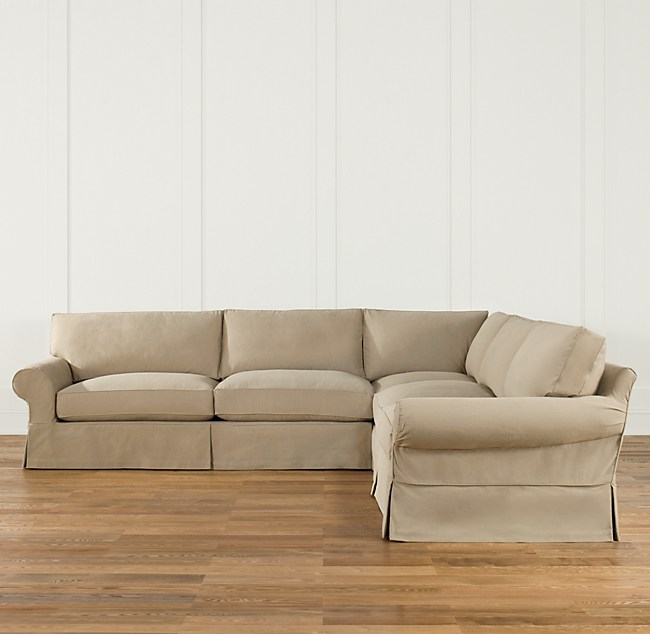 Preconfigured Grand Scale Roll Arm Slipcovered Corner Sectional