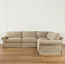 Preconfigured Grand-Scale Roll Arm Slipcovered Corner Sectional