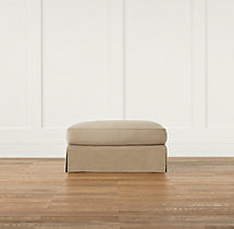 Grand-Scale Roll Arm Slipcovered Ottoman