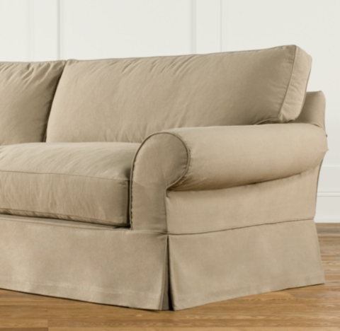 Preconfigured GrandScale Roll Arm Slipcovered Corner Sectional