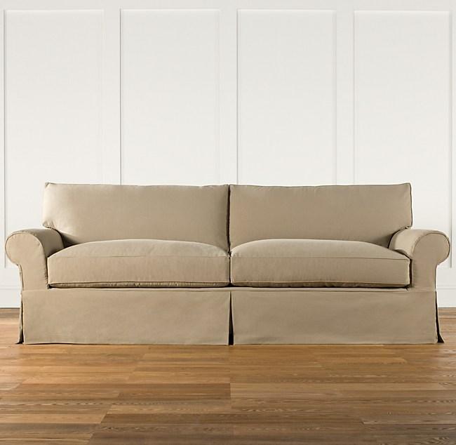 Grand-Scale Roll Arm Slipcovered Sleeper Sofa