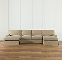 Preconfigured Grand-Scale Roll Arm Slipcovered U-Chaise Sectional