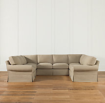 Preconfigured Grand-Scale Roll Arm Slipcovered U-Sofa Sectional