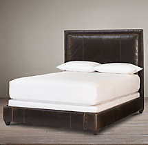 Wallace Leather Bed With Nailheads