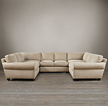 Preconfigured Classic Lancaster Upholstered U-Sofa Sectional