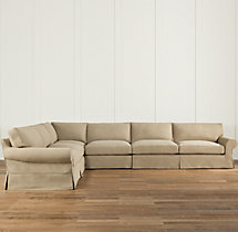 Preconfigured Grand-Scale Roll Arm Slipcovered L-Sectional