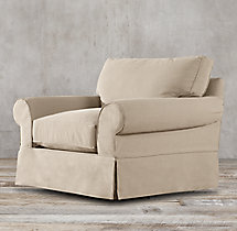 Grand-Scale Roll Arm Slipcovered Swivel Chair