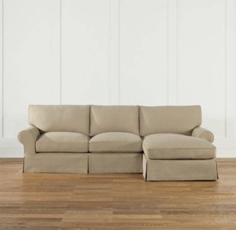 Scale Roll Arm Slipcovered RightArm Sofa Chaise Sectional