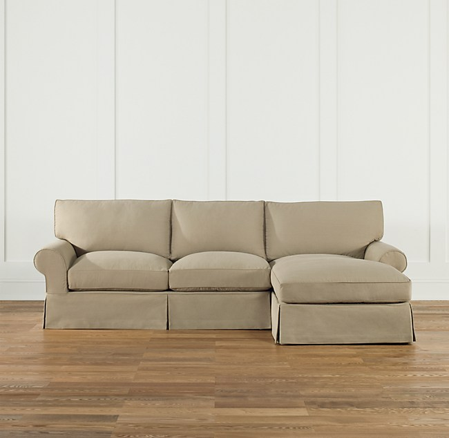 Preconfigured Grand Scale Roll Arm Slipcovered Right Sofa Chaise Sectional