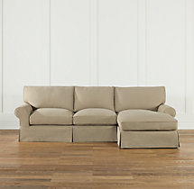 Preconfigured Grand-Scale Roll Arm Slipcovered Right-Arm Chaise Sectional