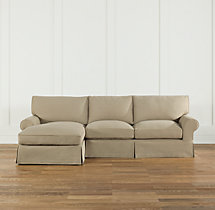 Grand-Scale Roll Arm Slipcovered Left-Arm Chaise Sectional