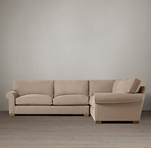 Preconfigured Grand-Scale Roll Arm Upholstered Corner Sectional