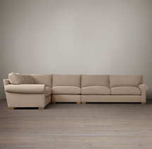 Preconfigured Grand-Scale Roll Arm Upholstered L-Sectional