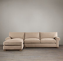 Preconfigured Grand-Scale Roll Arm Upholstered Left-Arm Chaise Sectional