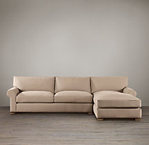 Preconfigured Grand-Scale Roll Arm Upholstered Right-Arm Chaise Sectional