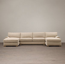 Preconfigured Grand-Scale Roll Arm Upholstered U-Chaise Sectional