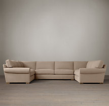 Preconfigured Grand-Scale Roll Arm Upholstered U-Sofa Sectional