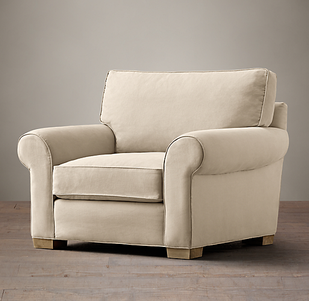 Grand-Scale Roll Arm Upholstered Chair