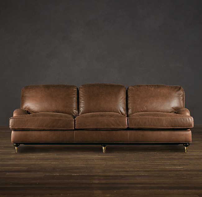 English Roll Arm Leather Sofa