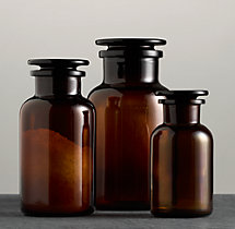 Pharmacy Amber Glass Bottles (Set Of 3)