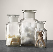 Clear Glass Pharmacy Bottles (Set of 3)