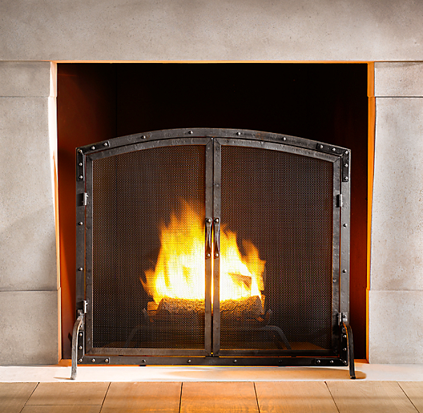 Rivet Hearth Arched Panel Screen with Doors