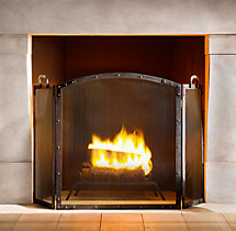 Rivet Hearth Arched Tri-Panel Screen