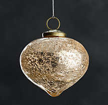 Vintage Handblown Glass Onion Ornament - Gold