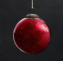 Vintage Handblown Glass Ball Ornament - Red
