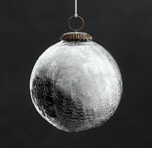 Vintage Handblown Glass Ball Ornament - Silver