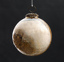 Vintage Handblown Glass Ball Ornament - Gold