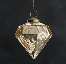 Vintage Handblown Glass Ornament Octagon - Gold
