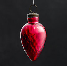 Vintage Handblown Glass Ornament Spindle - Red